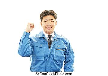 sorrindo, trabalhador, asiático