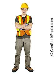 sorrindo, trabalhador construção
