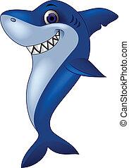 sorrindo, tubarão, caricatura