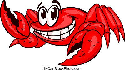 sorrindo, vermelho, carangueijo