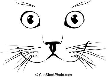 sorrindo, vetorial, cat., ilustração