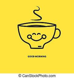 sorrindo, xícara café