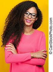 sorrir feliz, americano africano, woman.