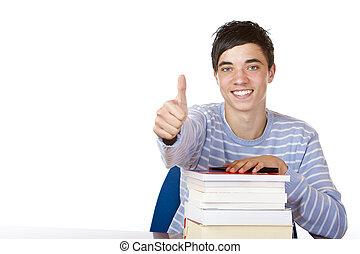 sorrir feliz, bonito, estudante masculino, inclinar-se,...