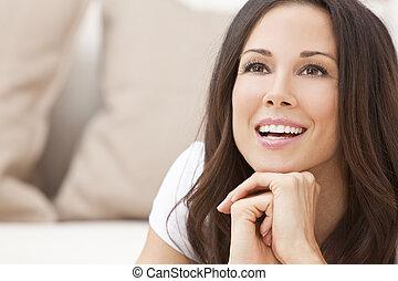 sorrir feliz, bonito, morena, mulher