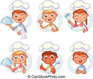 sorrir feliz, cozinheiro, cozinheiro, cobrança