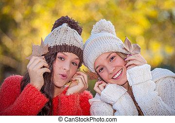 sorrir feliz, dentes brancos, meninas