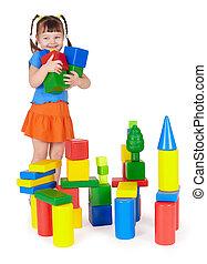 sorrir feliz, jogar crianças, com, coloridos, brinquedos