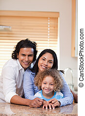 sorrir feliz, junto, família, cozinha