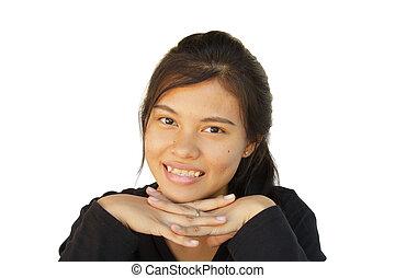 sorrir feliz, menina, de, asiático, ao ar livre