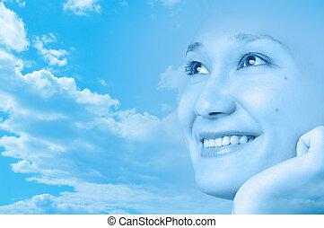sorrir feliz, menina, rosto, artisticos, desenho