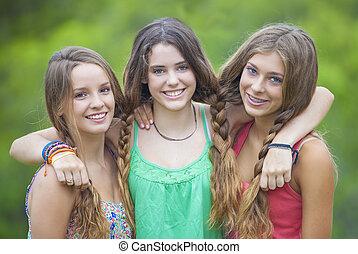 sorrir feliz, meninas adolescentes, com, dentes brancos
