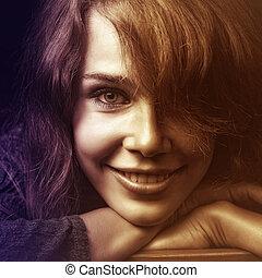 sorrir feliz, mulher, jovem, rosto