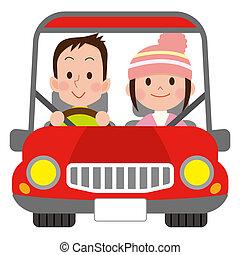 sorrir feliz, par, um carro