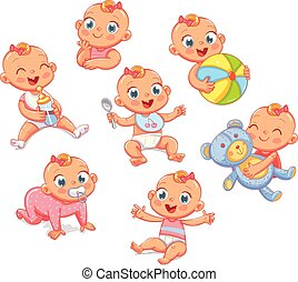 sorrir feliz, recem nascido, menina, em, diferente, situations., jogo