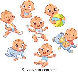 sorrir feliz, recem nascido, menino, em, diferente, situações