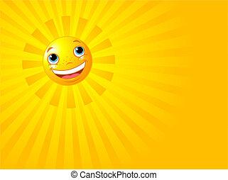 sorrir feliz, sol, verão, fundo