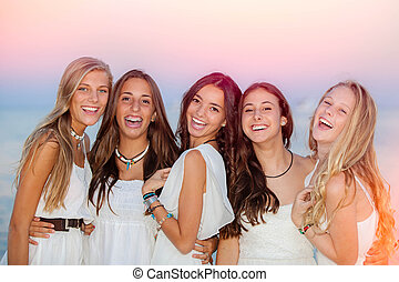 sorrir feliz, verão, adolescentes