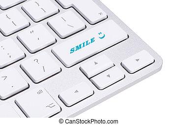 sorriso, bottone, fuoco molle, tastiera