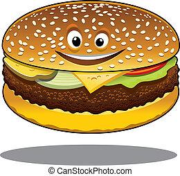 sorriso, cheeseburger, cartone animato, felice