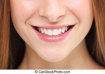 sorriso, concetto, donna, imbiancando, denti
