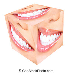 sorriso, donna, imbiancando, denti