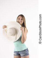 sorriso, donna, proposta, cappello