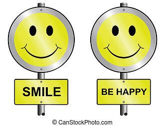 sorriso, e, essere, felice