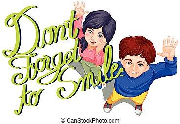 sorriso, espressione, dimenticare, non faccia
