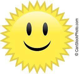 sorriso, felice, sole