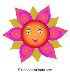 sorriso, fiore, rosso