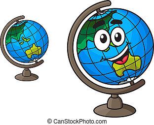 sorriso, globo, ridere, colorito, mondo