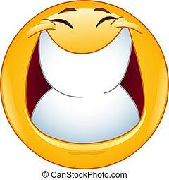 sorriso grande, com, olhos fechados, emoticon