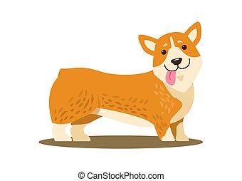 sorriso, lingua, vettore, cane, illustrazione