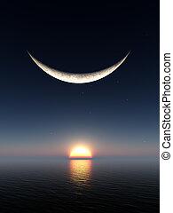 sorriso, luna, alba
