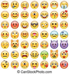 sorriso, set, emoticons., emoji., icone