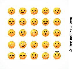sorriso, set., vettore, icona