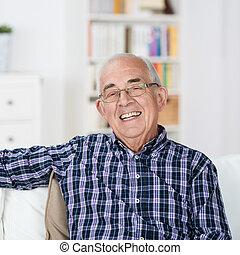 sorriso, uomo senior, irradiare, felice