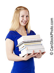 sorrisos, aluno feminino, jovem, livros, loura, segurando, bonito