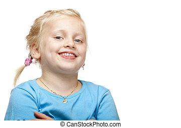 sorrisos, câmera., alegre, loura, menina, feliz