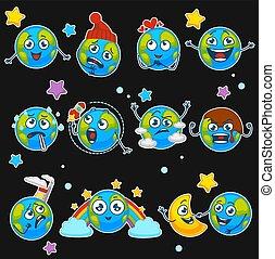 sorrisos, emoticons, jogo, ícones, isoalted, diferente, planeta, vetorial, terra, expressões, caricatura, emoji