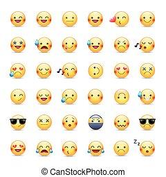 sorrisos, emoticons, vetorial, amor, smileys, grande, set., amarela, redondo, dormir, pictograms., feliz, cantando, cobrança, feliz, smileys., chorando, outro, ninja, ícone