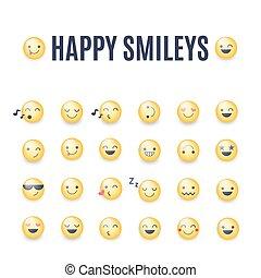 sorrisos, emoticons, vetorial, collection., set., amarela, grande, smileys, cobrança, pictograms, smileys., ícone, redondo, feliz