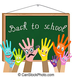 "sorrisos, escola, diz, fundo, coloridos, school""., ""back, tábua, vector., mãos, eps10"