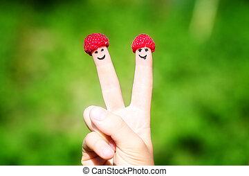 sorrisos, pintado, par, dedos, framboesas, feliz