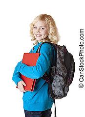 sorrisos, satchel, schoolbag, jovem, câmera, loura, schoolgirl