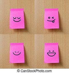 sorrizo, bloco de notas, ligado, madeira, fundo