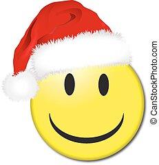 sorrizo, chapéu, santa