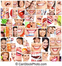 sorrizo, collage., pessoas