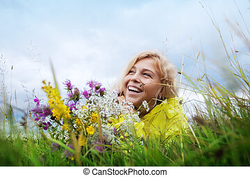 sorrizo, e, flores